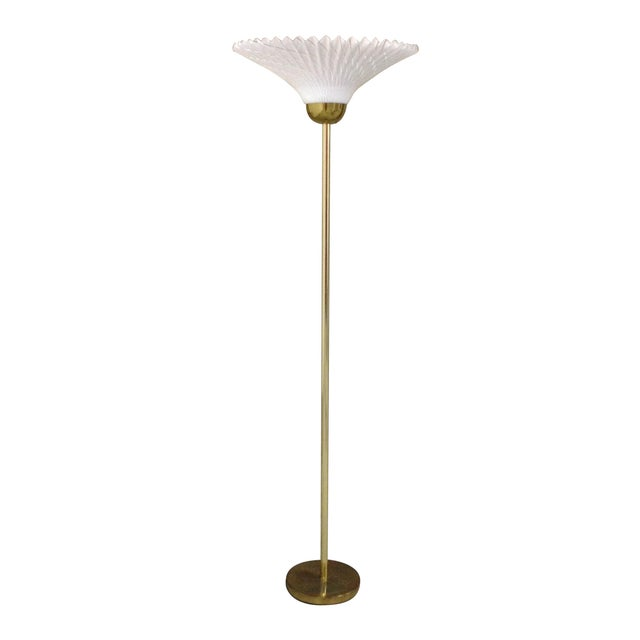 Mid-Century Brass & White Torchiere Floor Lamp