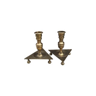 Mid-Century Triangular Brass Candlesticks - A Pair