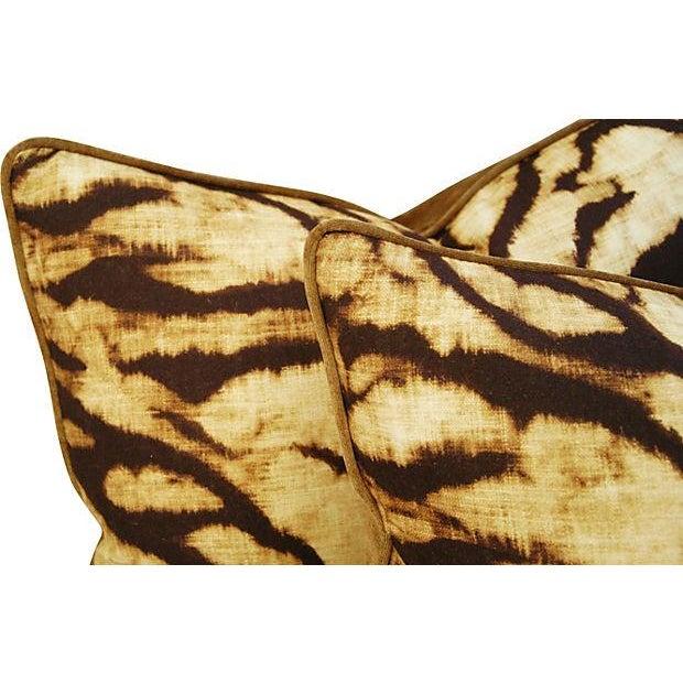 Schumacher Tiger Linen & Velvet Pillows - A Pair - Image 2 of 7