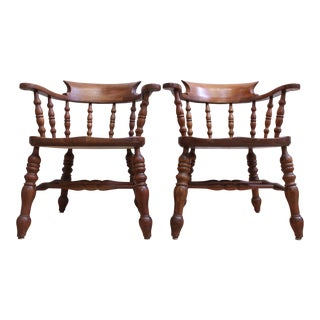 L & JG Stickley Colonial Cherry Valley Captain's Chairs - A Pair