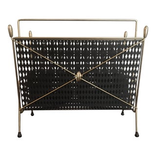 Italian Wrought Iron & Brass Magazine Rack