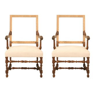 Pair of circa 1880 French Walnut Throne Chairs