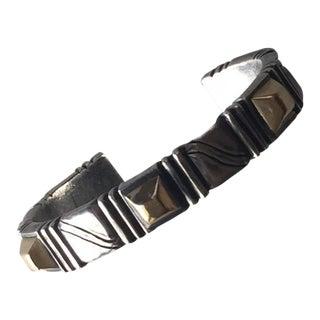 William Spratling Sterling Silver Gold Pyramid Cuff Bracelet