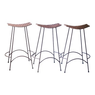 Vintage Arthur Umanoff Wicker Mid-Century Bar Stools - Set of 3