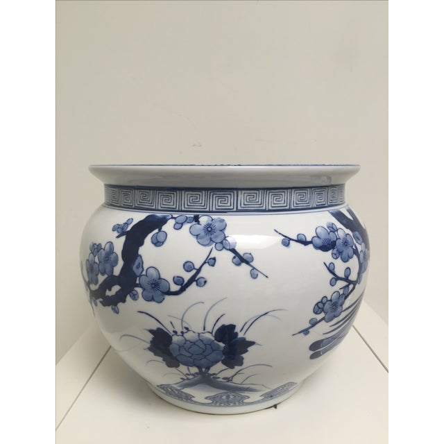 Blue and White Oriental Style Porcelain Planter - Image 3 of 5