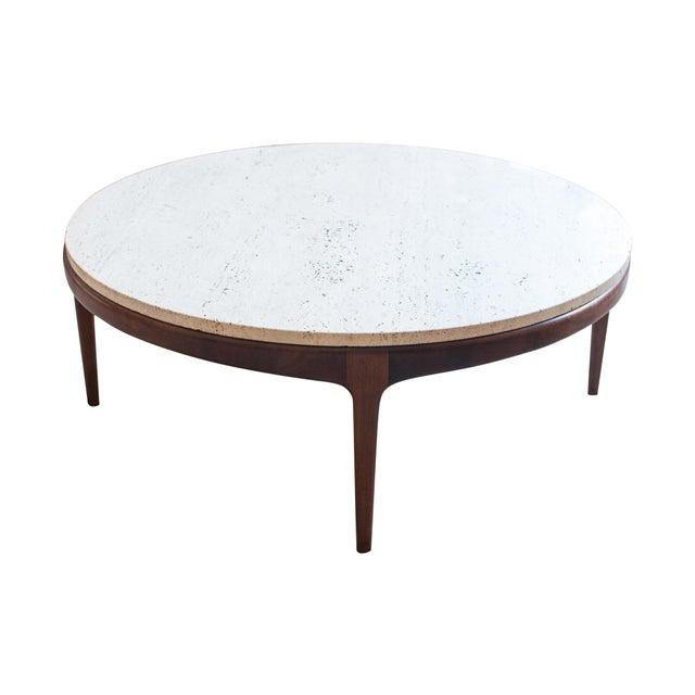 Vintage Travertine and Hardwood Coffee Table - Image 1 of 10