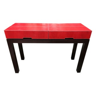 Red Faux Leather Console