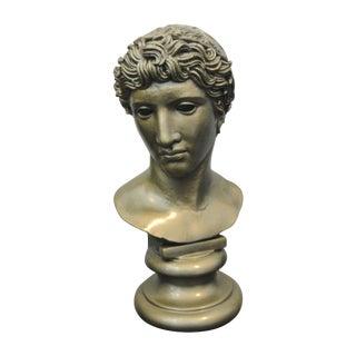 Vintage 1955 Faux Bronze Plaster Classical Bust