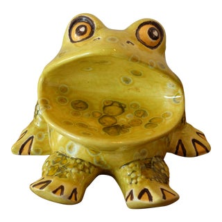 Vintage Handmade Ceramic Frog Sculpture