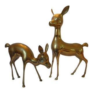 Mid-Century Brass Deer Figures - A Pair