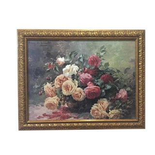 Vintage Still Life Roses in Basket Lithograph on Board - Furcy De Lavault