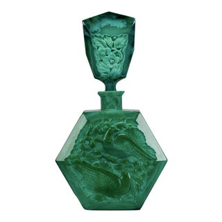 Curt Schlevogt Malachite Glass Ingrid Love Bird Perfume Bottle