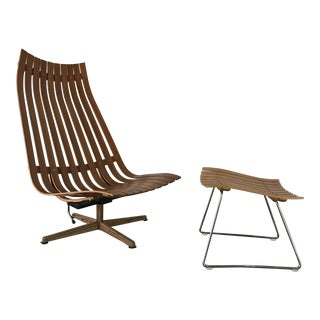 Hans Brattrud Scandia Lounge Chair & Ottoman - A Pair