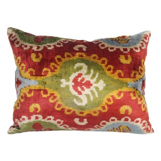Yellow, Green and Red Silk Velvet Pillow