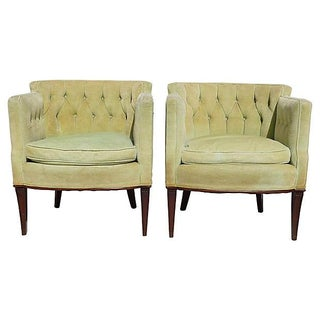 Mid Century Barrel-Back Club Chairs - Pair