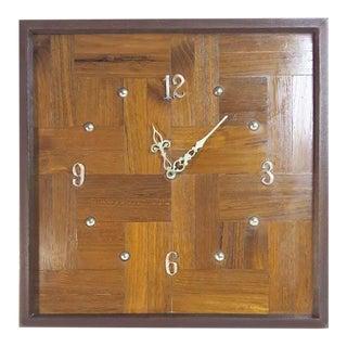 Mid-Century Modern Parquet Wood Clock
