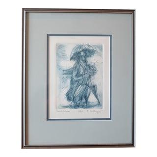 Signed Vintage Eastern European Jewish Folk Art Lithograph