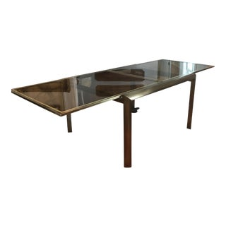 Mid-Century Design Institute of America Glass & Bronzed Modern Dining Table