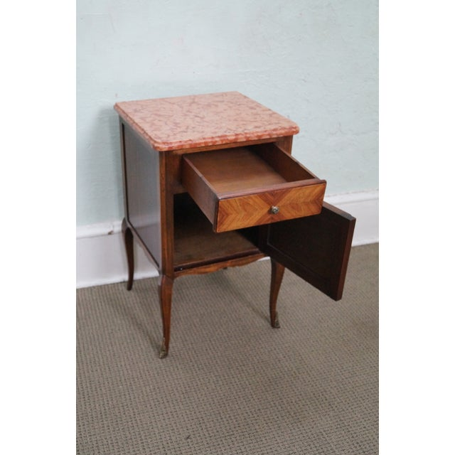 Antique Louis XV Walnut Marble Top Nightstand - Image 5 of 10