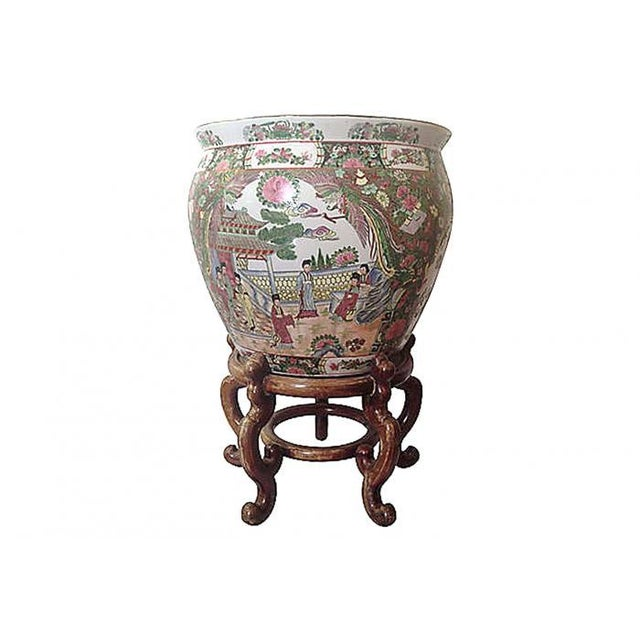 Chinoiserie fish bowl on stand chairish for Fish bowl stand