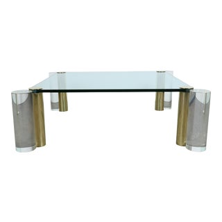 Hollywood Regency Lucite & Brass Coffee Table