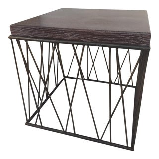 Edward Ferrell Serused Top & Iron Base Side Table