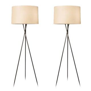 Pair of Monumental Bronze Floor Lamps
