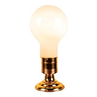 Milk Glass and Brass Lightbulb Table Lamp