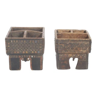Pair of Wooden Indian Spice Boxes