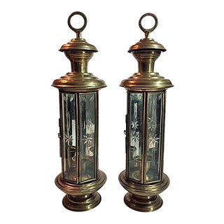 Vintage Brass & Etched Glass Candle Lanterns - a Pair