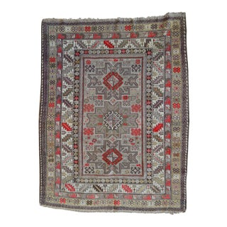 Distressed Vintage Star Kazak Rug - 3′9″ × 5′