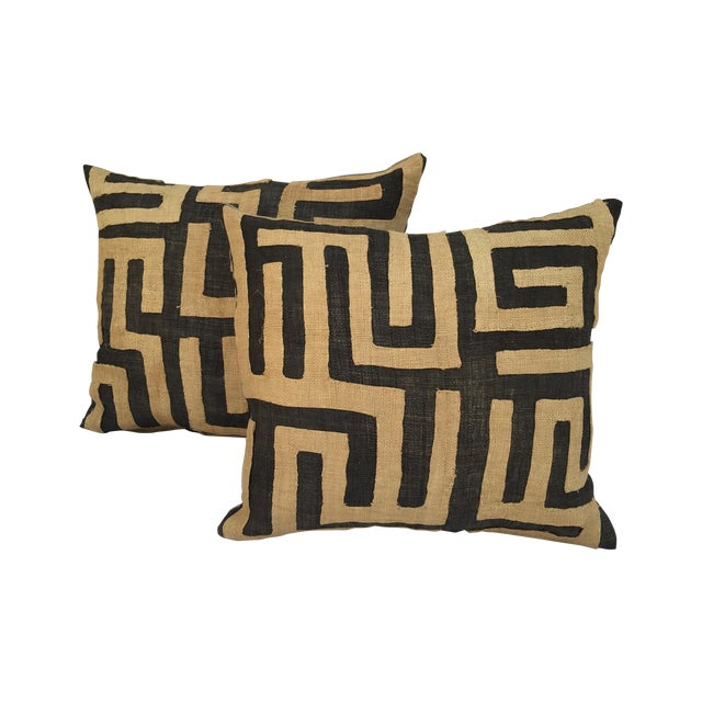 Vintage African Kuba Maze Pillows - A Pair - Image 1 of 8