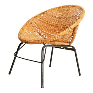 Mid-Century Modern Wicker Hoop Chair
