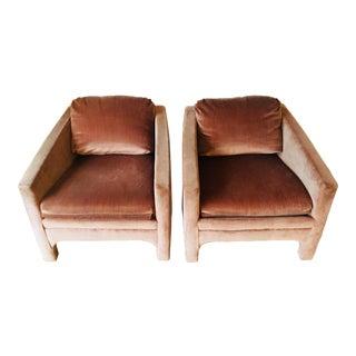 Vintage Blush Velvet Club Chairs - a Pair