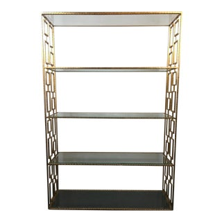 Vintage Hollywood Regency Style Gilded Metal & Glass Four-Tier Bookcase