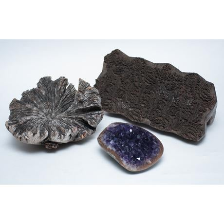 Image of Amethyst Crystal & Wood Pieces - Set of 3