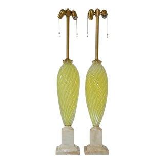 Lemon Yellow Opaline Murano Lamps by Seguso