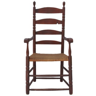 Red-Painted Ladder-Back Armchair