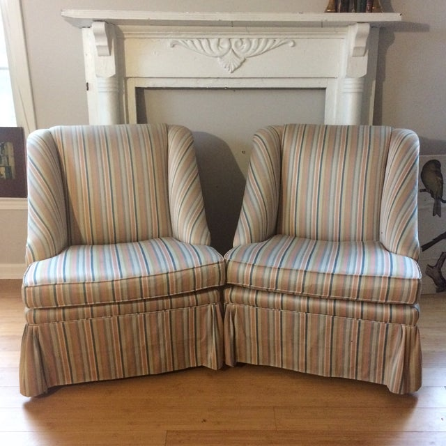 Striped Skirted Slipper Chairs A Pair Chairish