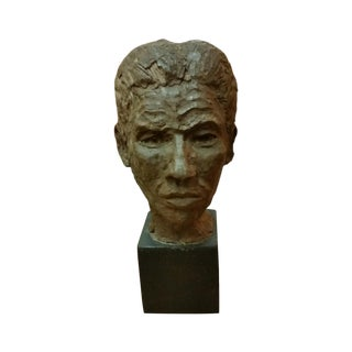 Midcentury Modern Clay Head Sculpture of a Man
