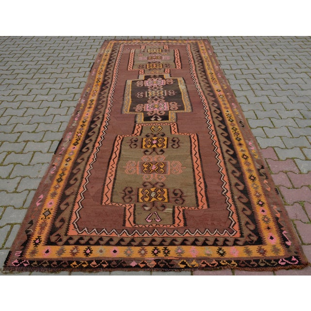 Turkish Hand Woven Kilim Rug - 5′1″ X 12′6″ - Image 5 of 10