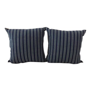 "Ralph Lauren Navy, Medium Blue & Off White ""Bungalow"" Striped Pillows- A Pair"