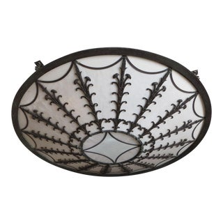 Large Antique Leaded Glass Ceiling Light Fixture Shade
