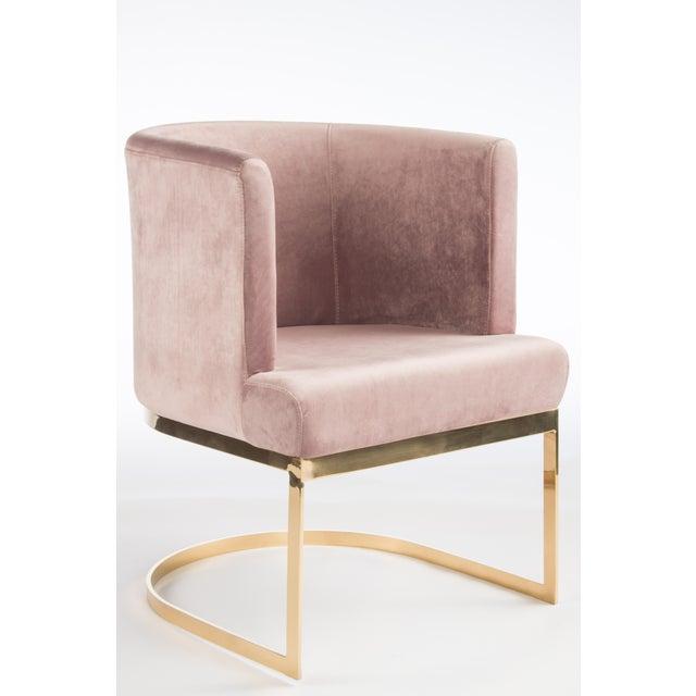 Modern Blush Velvet & Gold Circular Accent Chair Set of 6 - Image 2 of 3
