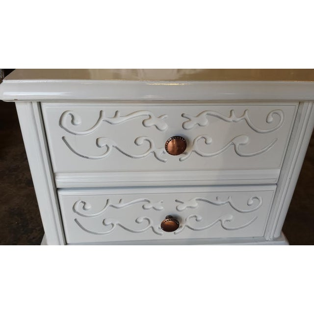 French Carved White Gloss Night Stands - A Pair - Image 6 of 6
