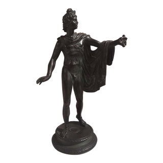 1850s Antique Greek God Belvedere Apollo Bronze Statue