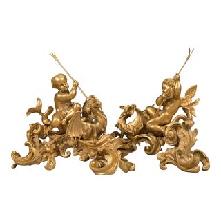 19th Century French Figural Cherubs & Dragons - A Pair