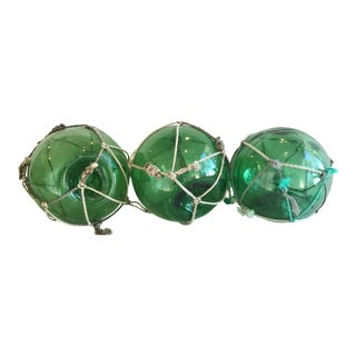 Nautical Green Glass Fishing Floats - Set of 3