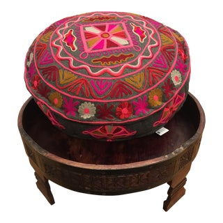 Embroidered Grinder Table Ottoman