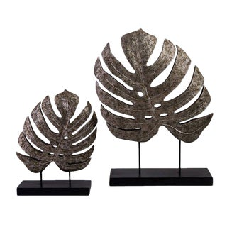 Silver Antiqued Leaves Statues - A Pair